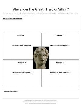 DBQ Alexander the Great:  Hero or Villain Graphic Organizer