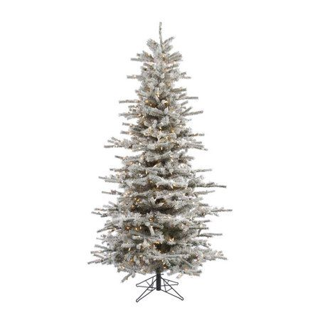 Vickerman 8.5' Flocked Sierra Fir Slim Artificial Christmas Tree with 850 Clear Lights, White