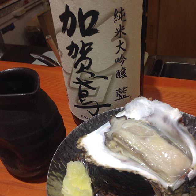 加賀鳶、純米大吟醸、いただいてます。美味しい〜〜 能登大島産の岩牡蠣とも相性バッチリです。(^^) #日本酒#sake#加賀鳶 #岩牡蠣