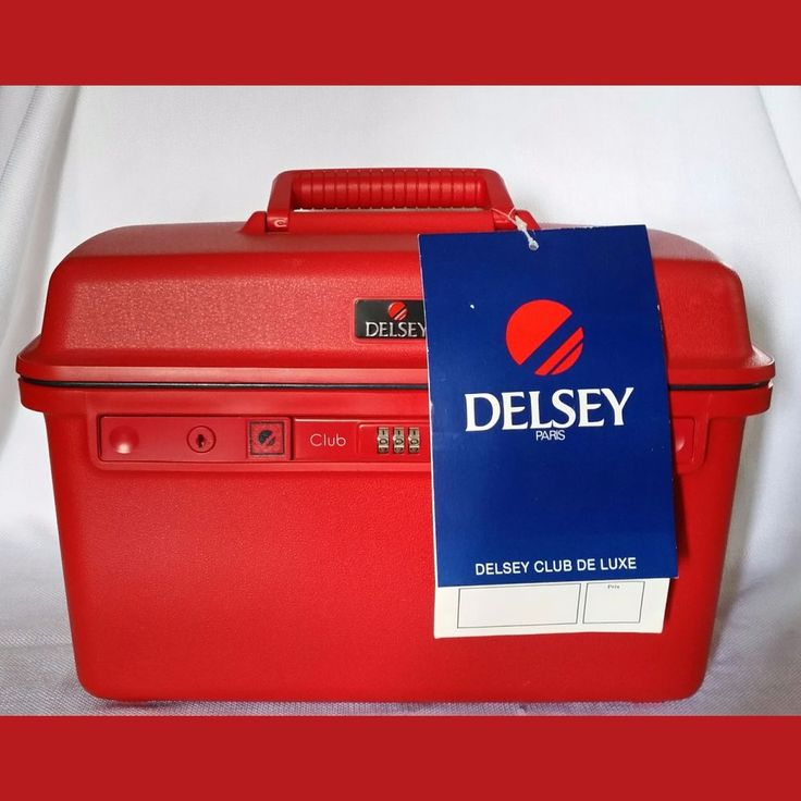 Delsey Club De Luxe Red Train-Vanity-Overnight Case-NWT-New Old Stock-#7937RL #Delsey