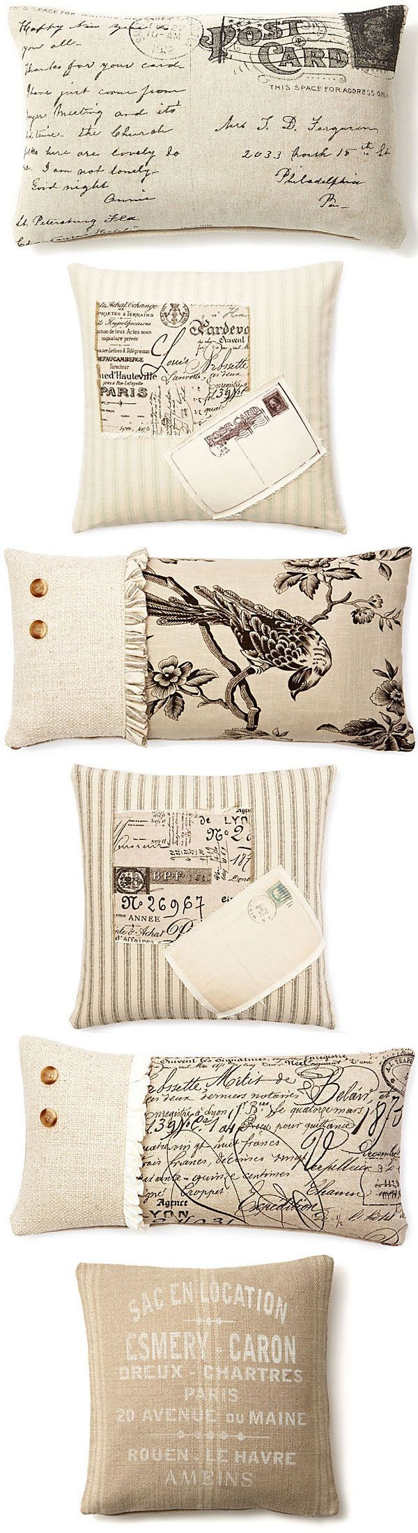 INSPIRATION :: More French Laundry Home pillow ideas using fabric & transfers. | #frenchlaundryhome #pillows #transfers:
