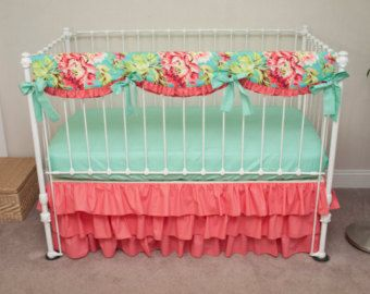 Bumperless Teal, Coral, and Mint Designer Baby Girl Crib Bedding with Crib Rail Guard / Rail Cover