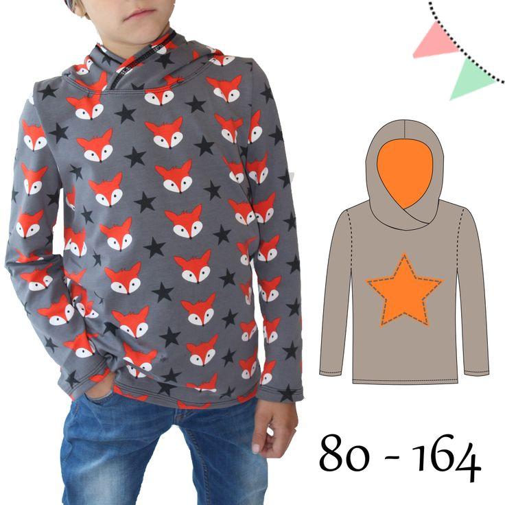 Ein Schnittmuster mit Anleitung für ein Kapuzenshirt für Kinder von Gr. 80 – 164.  Das Shirt besitzt eine gedoppelte Kapuze, die überkreuzt angenäht wird. Da keine Bündchen nötig sind, ist es das perfekte Einsteigerprojekt.  Das Shirt sitzt locker, aber nicht weit, wie ein Kapuzenhoody. | AnniNanni
