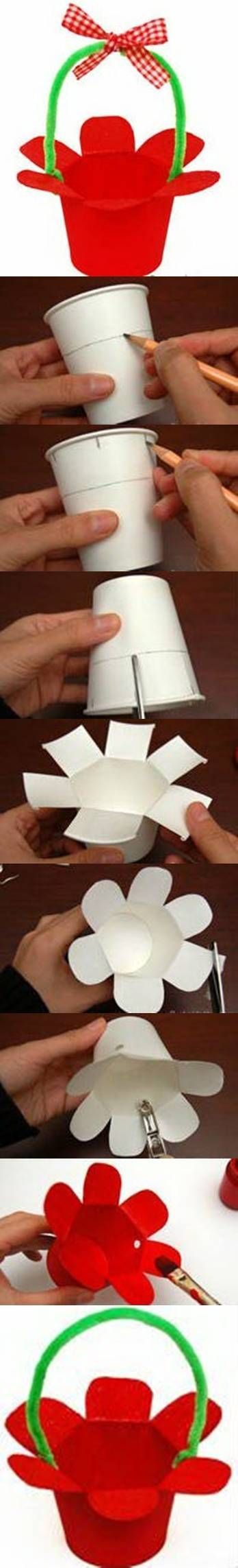 DIY Paper Cup Basket...cute idea for kids at Easter; a craft for them or part of their table setting.: