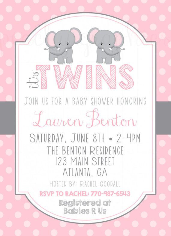 Sooo Cute Twin Pink Grey Elephant Themed Baby Shower Invitation