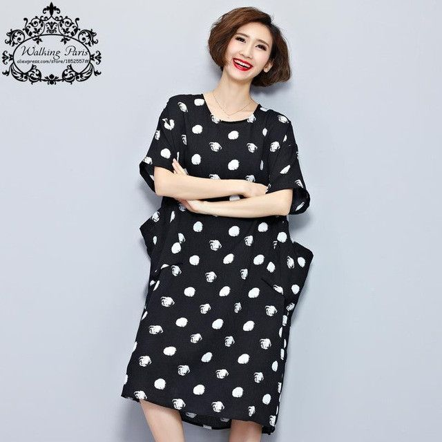 Big Size New Women Summer Dress White Polka Dot Fashion Dresses Casual T-shirt Dress Linen Clothes With Pocket Female Long Tops