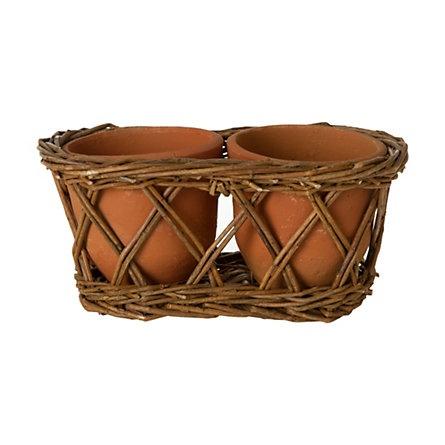 $15: Wicker Pots, Home, Clay Wicker, Earth Pot, Double Clay, Windowsill Gardening