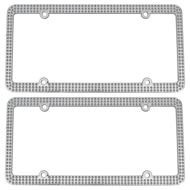 InstaTrim Chrome Glam Pattern Metal License Plate Frames Pair (2pcs) - Classic for Car Auto Truck SUV