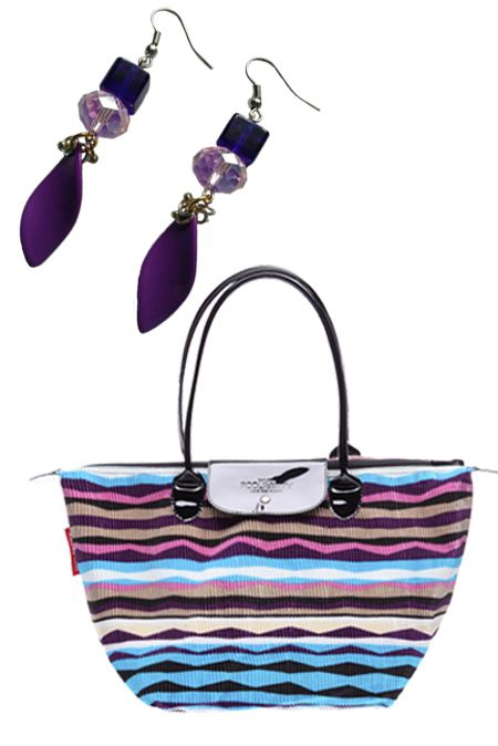Мини образ с сумкой и фиолетовыми сережками  купить за 673 грн. в интернет-магазин Stilecity  ✔ Лучшие цены ☆ Создайте свой собственный образ ♡ #Stilecity, новый капсульный гардероб на каждый день. Образ содержит: сумка серьги