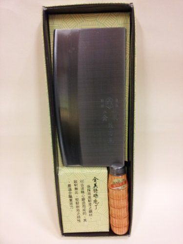 "Chinese Kitchen Knife Asian Cleaver #CL-008 by JIN LIH. $39.99. Gift Boxed. 4.5-inch handle is textured, slip resistant, and ergonomically designed for balance and comfort. rectangular cleaver shape. stainless steel blade provides maximum sharpness and edge retention 7.5''. This steel cleaver is the strongest of the cleavers (1/8"" spine) and can be used for cutting up large bones, ribs, pork chops, beef bones, and oxtail. Good for commercial or home use."