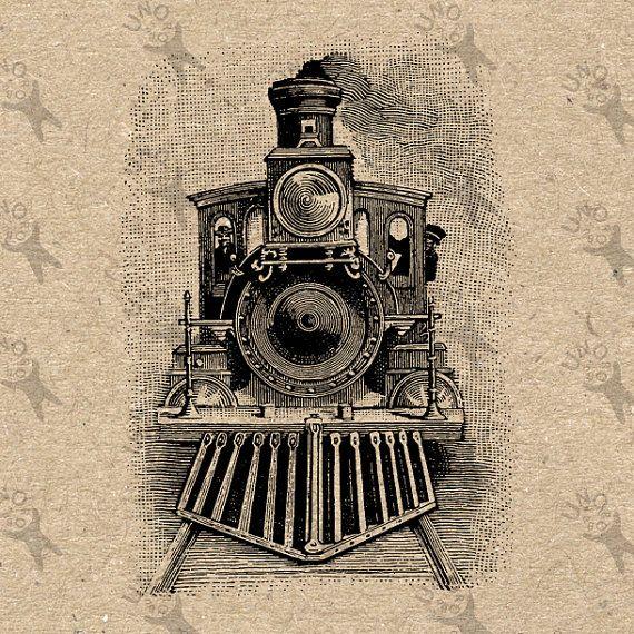 Schwarz-Weiß Bild Clipart Illustration Vintage Zug Locomotive Steam druckfähige Digitalbild sofort-Download HQ 300dpi PNG und JPG-Drucke (JPG-Bilder…