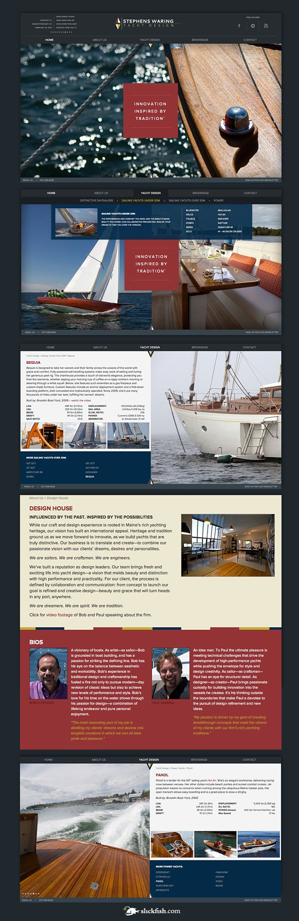 www.slickfish.com / web design composite for Stephens Waring Yacht Design, a custom yacht design company in Belfast, Maine.