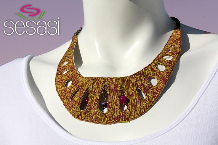 """""""Papel Picado"""" collar. Handmade embroidery."""
