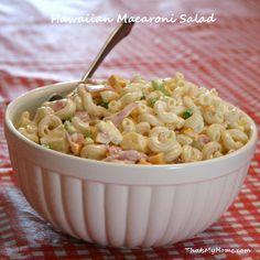 Hawaiian Macaroni Salad - Macaroni Salad with chunks of pineapple, julienned ham and sweet peppers.