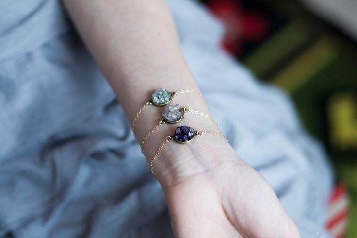 Druzy bracelet, womens quartz bracelet, mineral jewelry, amethyst bracelet, aquamarine bracelet, bohemian bracelet, 14k gold filled bracelet by TinyMountainsDesigns on Etsy https://www.etsy.com/listing/265814734/druzy-bracelet-womens-quartz-bracelet