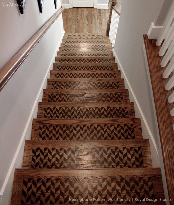 Herringbone Pattern Furniture Stencil