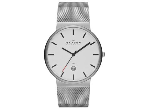 "#Skagen ""White Label"" men's stainless steel slim design dress watch.Ultra slim, minimalist Danish design and a 'signature' mesh band, these elements of design are now the instantly recognisable design DNA of Skagen ""White label"" collection. 