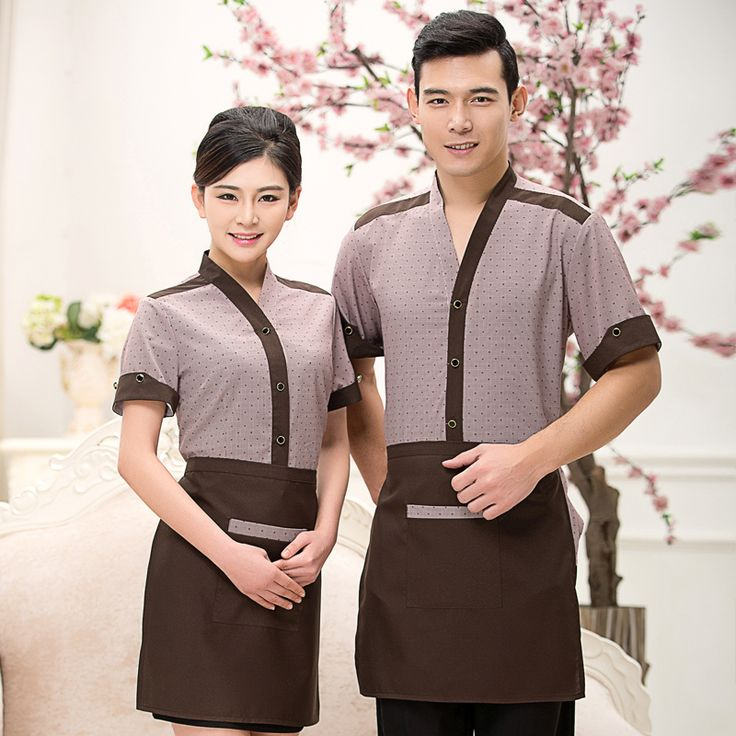 Cheap Uniforms Hotel Desk Clerk Work Clothes Women and Men Restaurant Server Work Wear BBQ Shop Clothing Free Shipping Uniforms