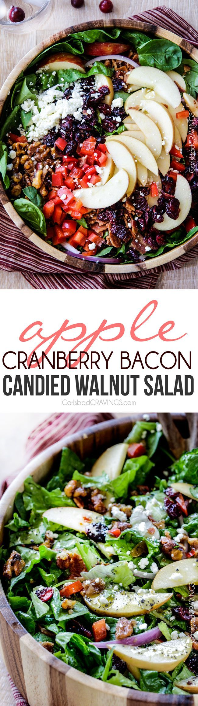 Apple Cranberry Bacon Candied Walnut Salad with Apple Poppy Seed Vinaigrette belongs on your table this Thanksgiving and all Autumn long! so addictively delicious and the dressing is amazing!