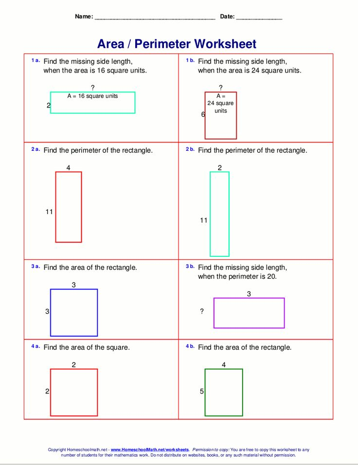 Area and perimeter worksheets (rectangles and squares)