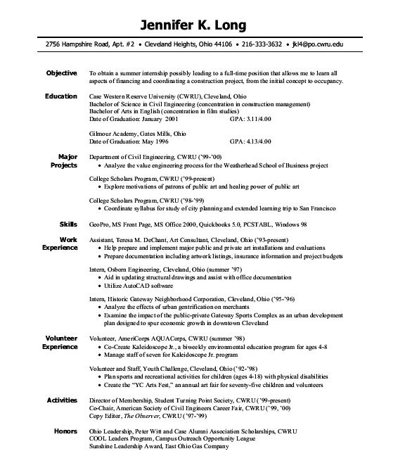 examples of student resumes for internships