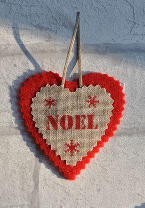 Coeur de Noël en feutrine et lin, déco de sapin...