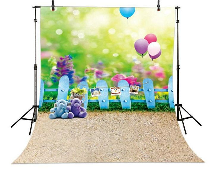 wholesale Balloon Fuzzy Teddy Bear Grass photo backdrops for sale vinyl and Flannelette cloth Computer print children kids cheap backgrounds for photography