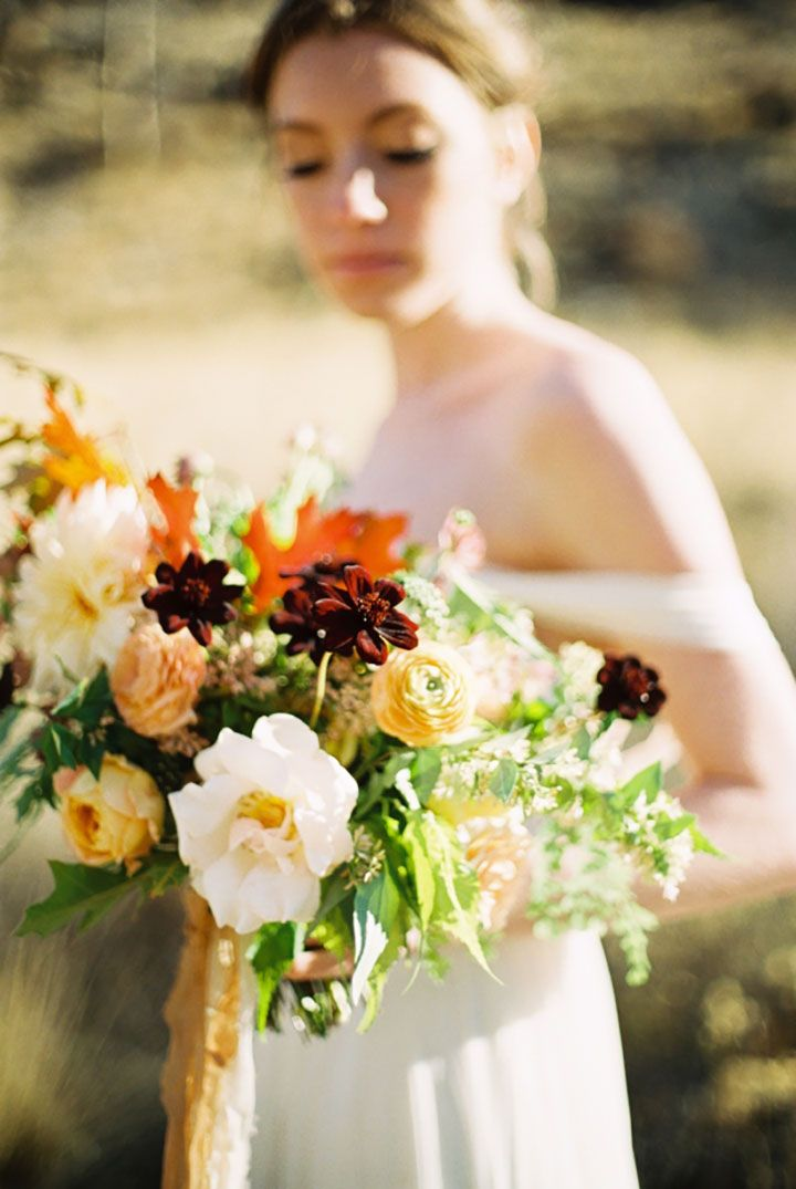 Gorgeous fall bouquet from Foraged Floral of dahlias, cosmos, garden roses, ranunculus & foraged finds.