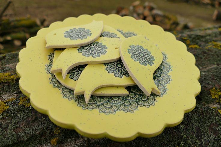 Ceramiczny talerzyk, ptaszki magnesy
