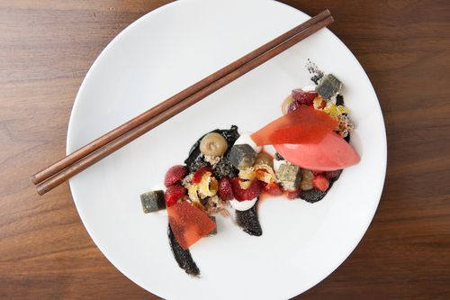 #Recipe - La Nuit Rouge from Pastry Chef Monica Glass of Clio: Native #Strawberries, #BlackSesame, Caramelized #Coconut, Kinako, and #Kalamansi