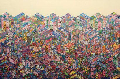 """Erro - """"Boxscape"""", 1985 Peinture glycérophtalique sur toile signée et datée au dos 200 x 300 cm Provenance : Lintas, - Reproduit dans """"Le balcon de Paris. Dix huit peintres d'aujourd'hui"""", élaboré par Marie-Paule Negre, 1993, en couleur page 15"""