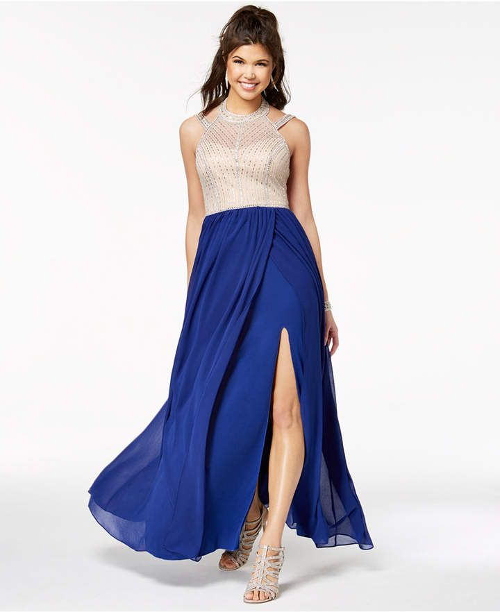 3566f859a3a Say Yes to the Prom Juniors  Embellished Contrast Slit-Skirt Gown