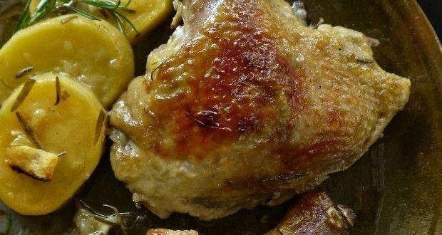κοτόπουλο ψητό με λεμόνι και δενδρολίβανο - Pandespani.com