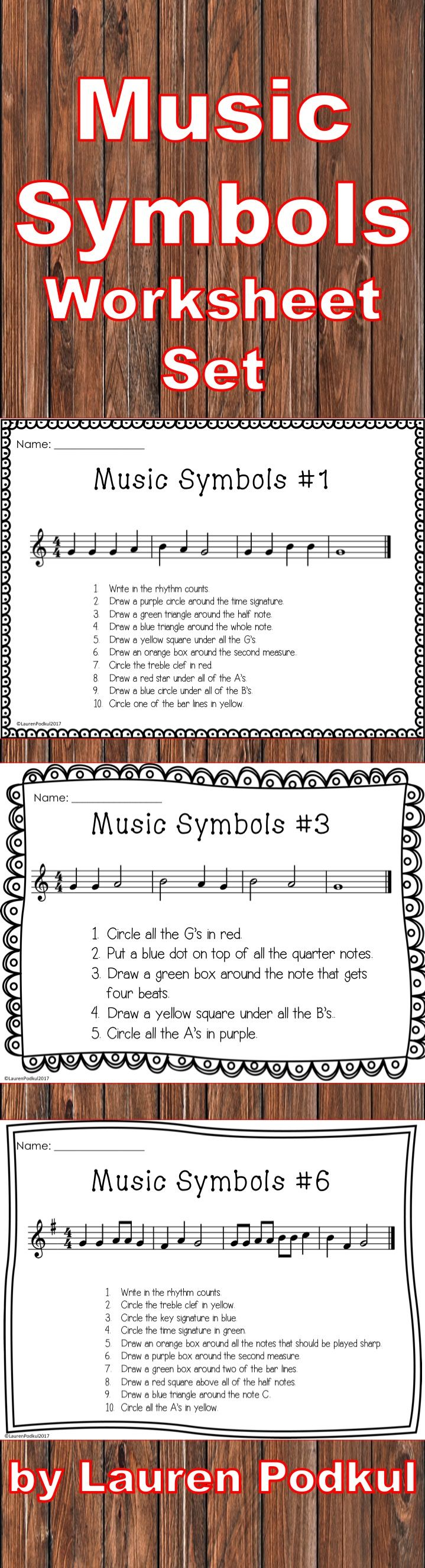 Music symbols worksheet beginner music humanities lesson elements of music