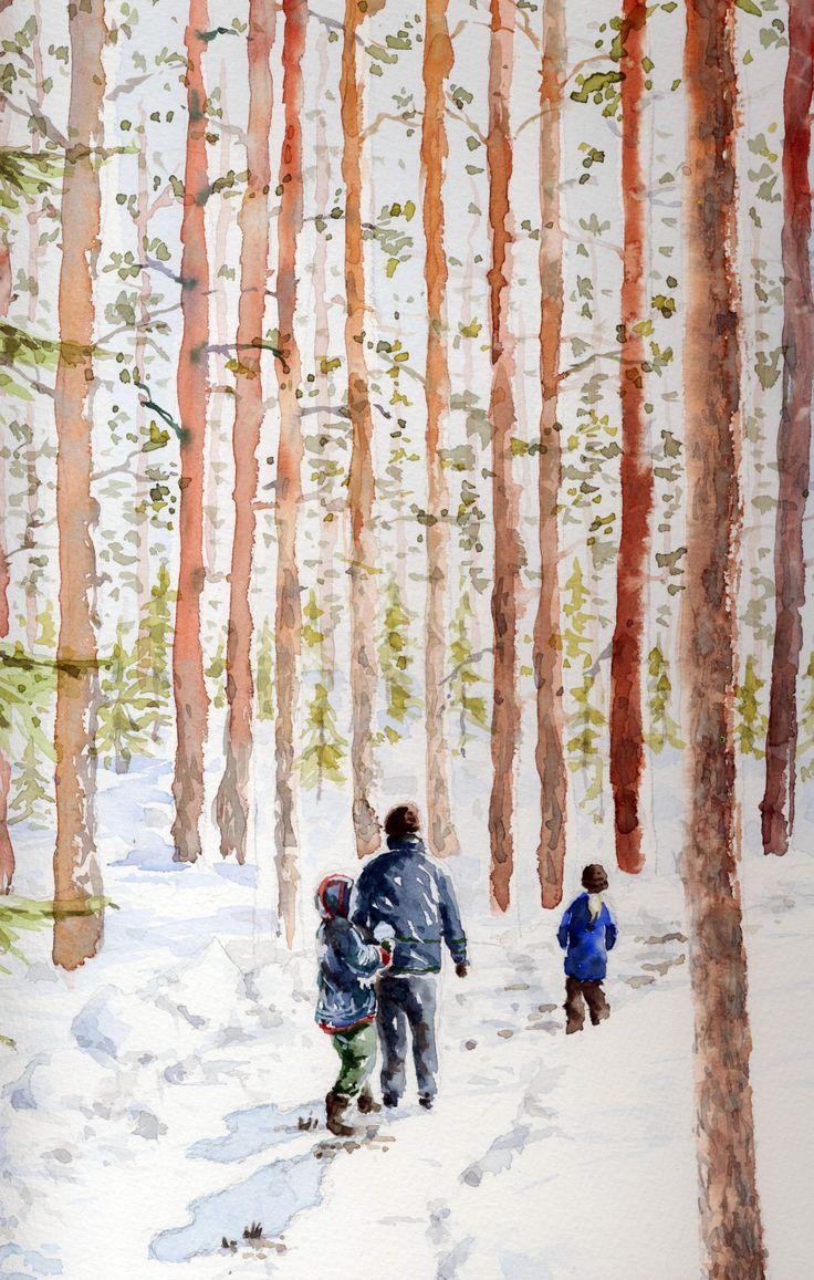 Kolme poikaa-Akvarelli