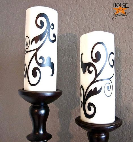 Vinyl Candle Decals made with Silhouette Cameo