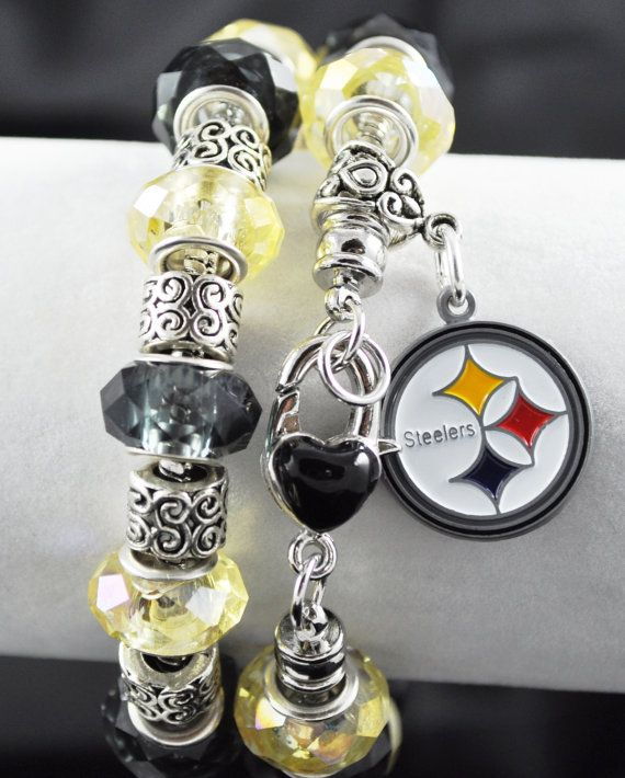 Pittsburgh Steelers Bracelet: European Charm Style on Etsy, $25.00
