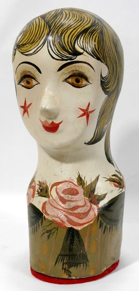 """FRENCH PAPER MACHE MILLINERY HEAD, C1920, H 14"""", W 5"""", D 7"""":Red felt base. Used to display hats. Hand painted."""