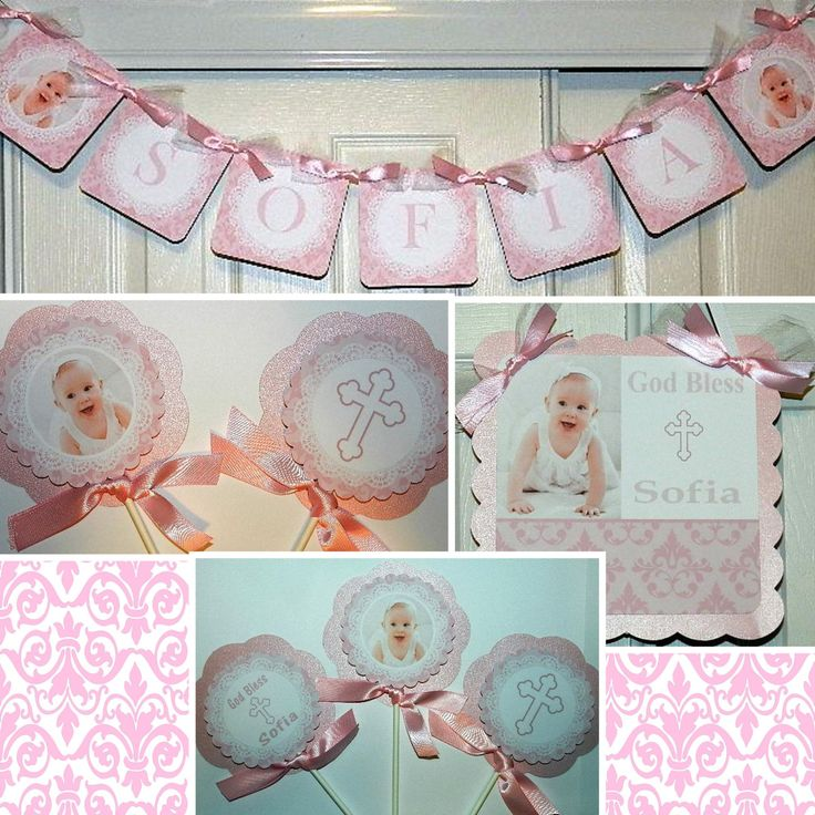 BAPTISM Decoration-Baptism Name Banner Centerpieces Door Sign, Baptism by APartyWithPaper on Etsy