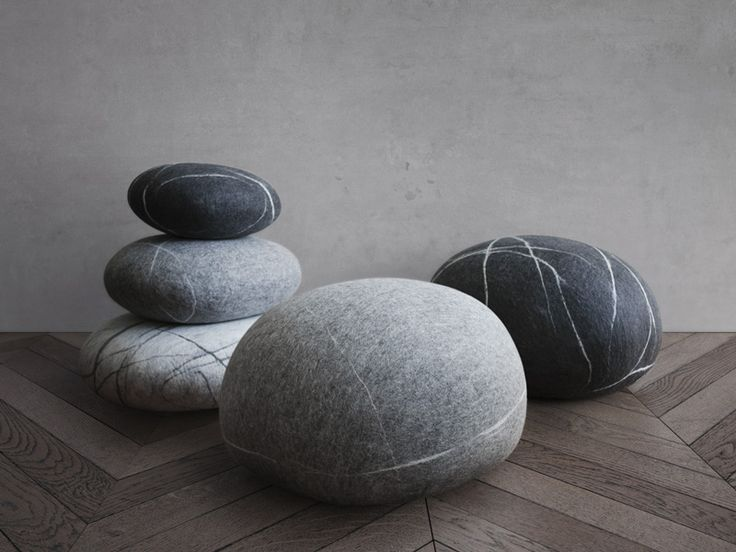 fivetimesone | pouf stone & pillows | 100% merino wool | handmade in Poland