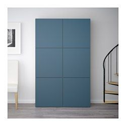 IKEA - BESTÅ, Storage combination with doors, walnut effect light gray/Valviken dark blue, , You can choose to use either the soft-closing or push-open function. The push-opener lets you open the doors with just a light push, while the soft-closing hinges makes sure they close silently and softly.Adjustable shelves, so you can customize your storage as needed.