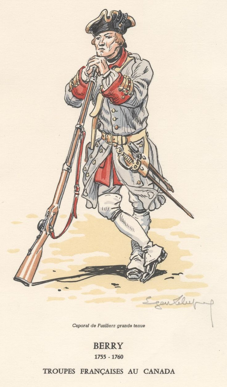 French Army in Canada; Infantry Regiment Berry, Fusilier Corporal in grand…