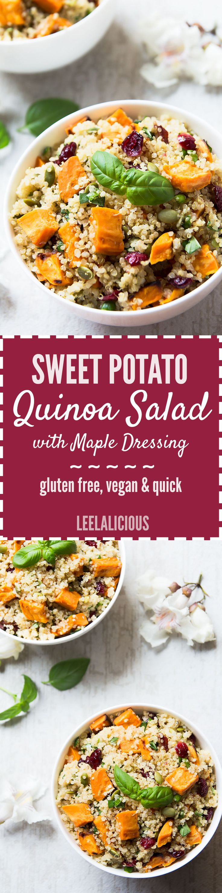 This healthy Sweet Potato Quinoa Salad with cranberries, pepitas and maple dressing is filled with complete protein, antioxidants and makes a delicious vegan main or side dish - warm or cold.