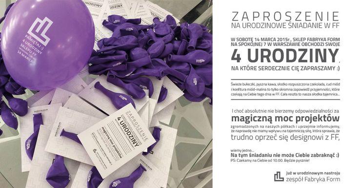 4 urodziny sklepu na Spokojnej 7 w Warszawie! 14 marca 2015 - zapraszamy!