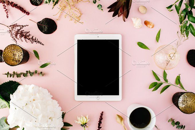 iPad on pink background by Floral Deco on @creativemarket