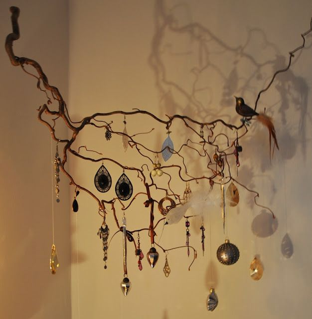 All my earrings - love this way of displaying them    DIY jewellery display wood home craft decoration