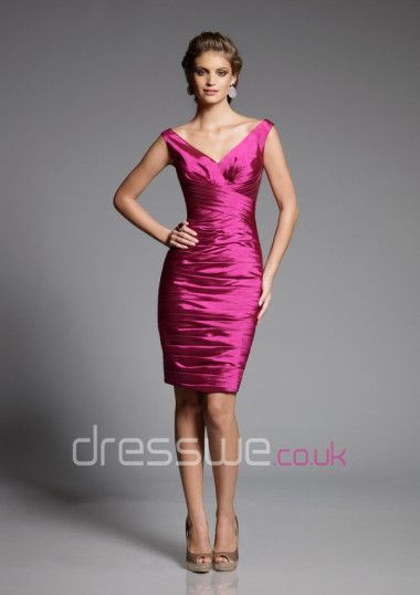 Fuchsia+V-neck+Knee-length+Pleated+Tiered+Summer+Taffeta+Beautiful+Outdoor+Bridesmaid+Gown