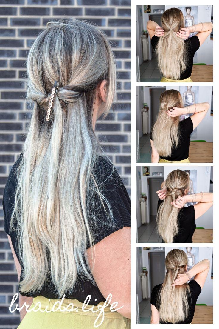 13 Schritte Anleitung Festliche Halboffene Frisur Fur Weihnachten Braids Life Lassige Frisuren Frisuren Mittellanges Haar Lange Haare