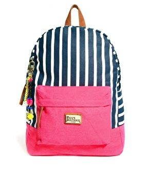 Pauls Boutique Libby Striped Backpack with Badges