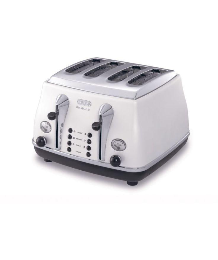 Designer Home Accessories   DeLonghi Micalite Icona 4 Slice Toaster White    White   Colours